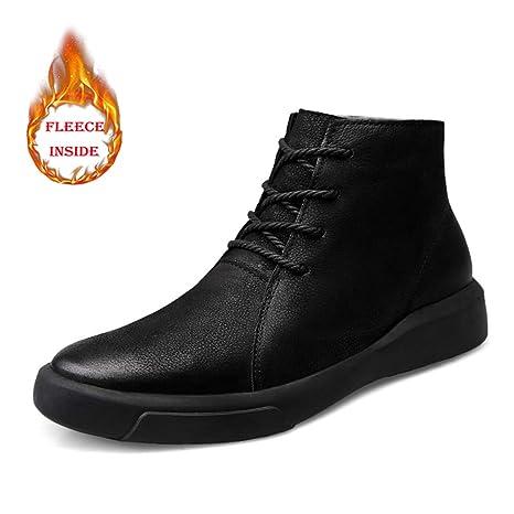 HILOTU Botas de Nieve de Senderismo para Hombre Zapatos Impermeables de Invierno Zapatos con Cordones Antideslizantes