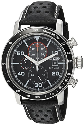 Black Dial Automatic Chronograph Watch - Citizen Men's 'Eco-Drive' Quartz Stainless Steel and Leather Casual Watch, Color:Black (Model: CA0649-14E)