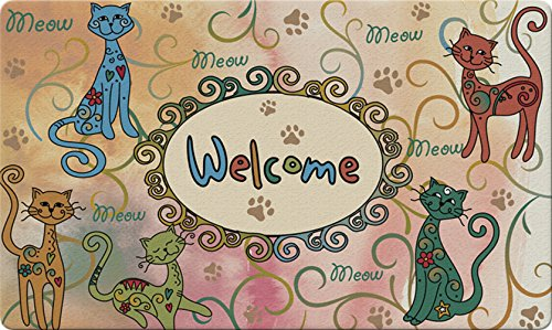 Toland Home Garden Meow Welcome 18 x 30 Inch Decorative Floor Mat Colorful Kitty Cat Greeting Doormat