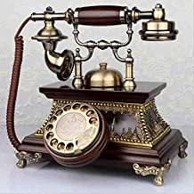 Antique Telephone European Retro Wood Rotating Old Living Room Home Wireless Card Telephone Landline,A
