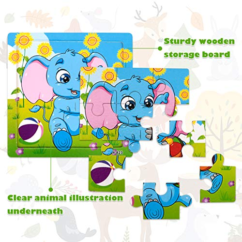Libay Wooden Puzzle for Kids Ages 2-5 Years Old, 9 Pieces Preschool Educational and Learning Toy Animal Jigsaw Puzzles Set Gift for Boys and Girls (6 Puzzles)