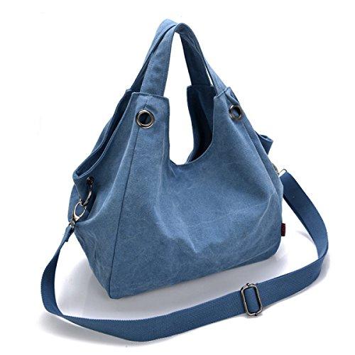 Lienzo Mujeres De Gran Capacidad La Moda Usable Transpirable Todo-fósforo Bolsas Bolso Blue