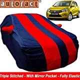 Autofact Car Body Cover for Maruti Celerio (Mirror Pocket, Premium Fabric, Triple Stiched, Fully Elastic, Red/Blue Color)