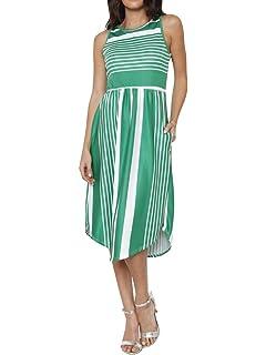 fd7b0d1f645 Foshow Womens Tank Dress Striped Midi Sleeveless Casual Summer Beach Dresses  with Pockets (Small