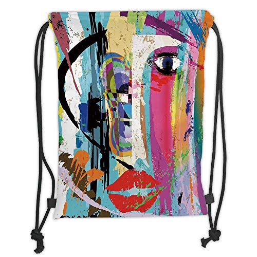 Paint Face Theme (Custom Printed Drawstring Backpacks Bags,Art,Contemporary Paint Strokes Splashes Face Mask Paint Kiss Graffiti Grunge Creative Theme Decorative,Multicolor Soft Satin,5 Liter Capacity,Adjustable S)
