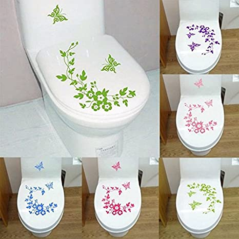 Butterfly Flower Toilet Seat Cover Sticker Wall Refrigerator Art Waterproof Removable Paper Buckdirect Worldwide Ltd.
