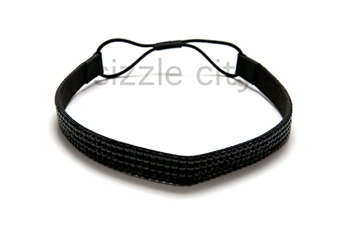 SIZZLE CITY Custom Color Bling Shimmering Rhinestone Elastic Stretch  Headbands (Thick Black) 42e0a29cd03