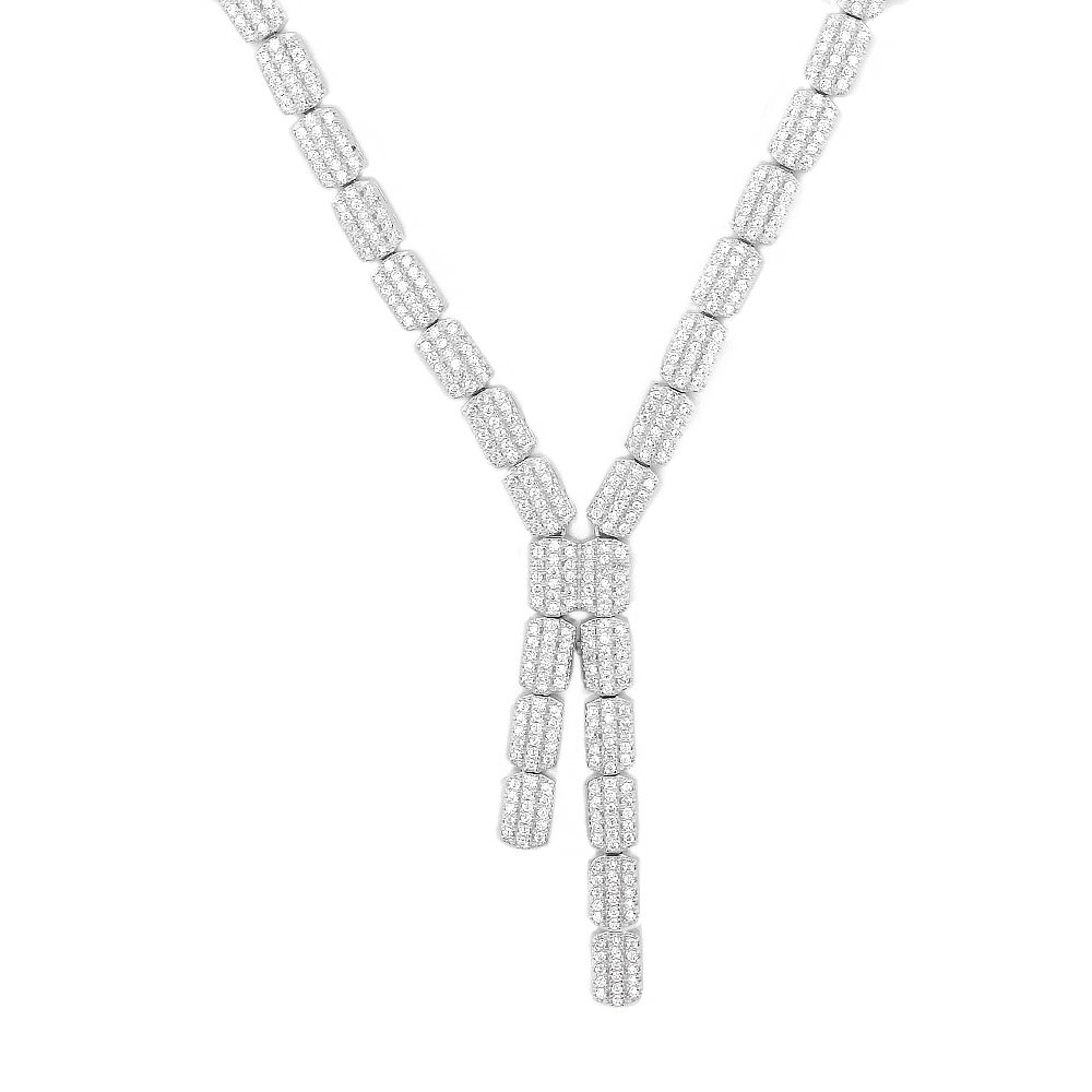 Evan Jewels, EV9-9031 Lariat Necklace in Sterling Silver 18'' (Silver)