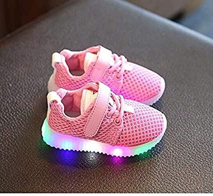 Amazon.com: FidgetKute Zapatos de Bebe Niña Niño Zapatillas de Malla con Luz LED Intermitente Rosado 8: Clothing