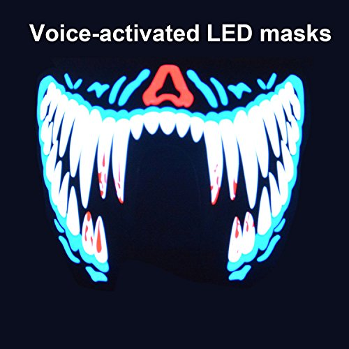 2017 Voice-activated LED Mask,Halloween Fashion mask,Makeup Dance Mask,Extreme Sports LED Masks,Music Lights Up Mask,DJ Mask ( Bule (Led Sound Activated)