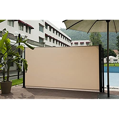 Ordinaire Abba Patio Retractable Folding Side Awning Screen Fence Privacy Divider  With Steel Pole, 5.2u0027H, Beige