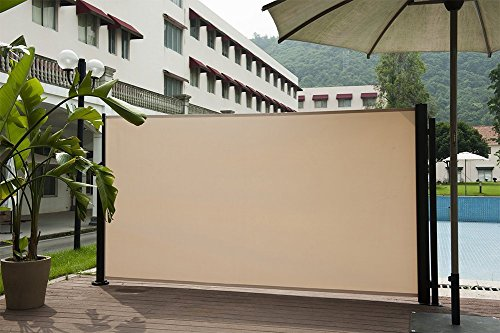 Abba Patio Retractable Folding Screen Privacy Divider with Steel Pole, 5.2'H, Beige (Retractable Umbrella Awning)