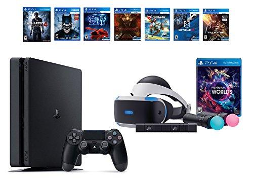 PlayStation VR Launch Bundle 8 Items:VR Launch Bundle,PlayStation 4 Slim- Uncharted 4,6 VR Game Disc Until Dawn:Rush of Blood, EVE:Valkyrie,Battlezone,Batman:Arkham VR, DriveClub,Battlezone