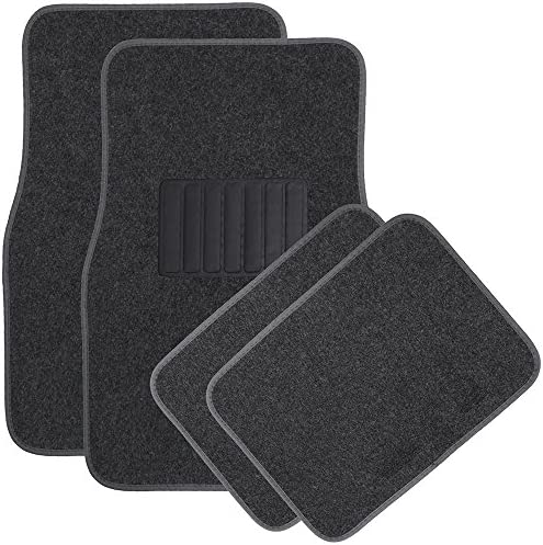 OxGord 4 Piece Luxe Carpet-Floor-Mats Set for Car – Rubber-Lined All-Weather Heavy-Duty Protection for All Vehicles, Charcoal