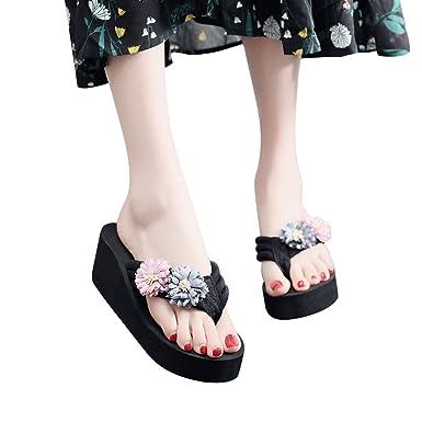 Mujer Sandalias Mocasines con Florales Verano Sandalias cuñas de casa Zapatos Plataforma de Playa para Mujer Moda Sandalias Bohemia Chanclas Zapatillas ...