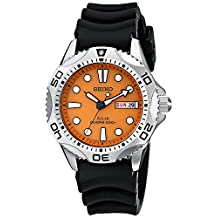 Seiko SNE109 Men's Solar Dive Wrist Watch, Orange Dial