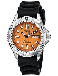 Seiko SNE109 Men's Solar Dive Wrist Watch, Orange Dial