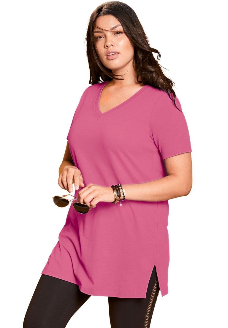 Roamans Women's Plus Size V-Neck Maxi Tunic
