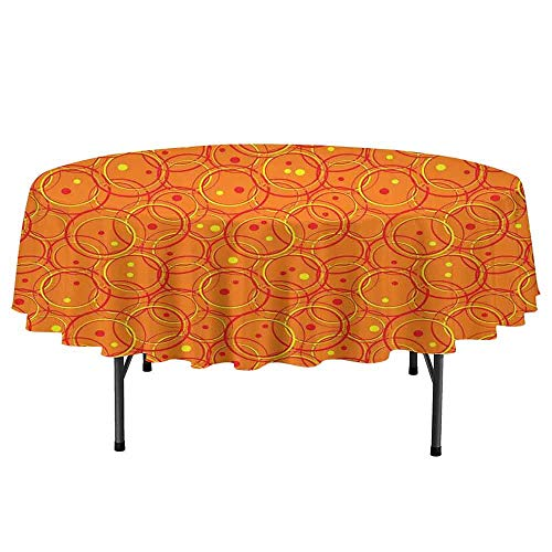 - Douglas Hill Burnt Orange Waterproof Anti-Wrinkle no Pollution Circle Patterns in Fashion Trend Colors on Retro Dotted Background Decorative Round Tablecloth D51 Inch Orange Yellow