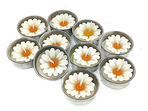 NAVA CHIANGMAI White Daisy Flower Candle in Tea Lights,Scented Tea Lights, Aromatherapy Relax, Candles for Birthday Party Supplies and Wedding Favor(Pack of 10 -