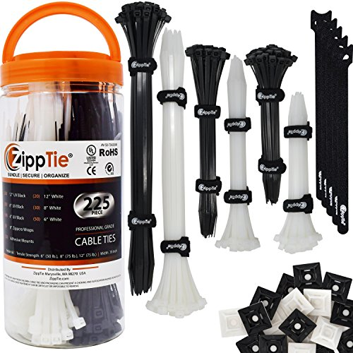 """Cable Ties by ZippTie   225pc Cable Management Kit 6"""", 8"""", 1"""