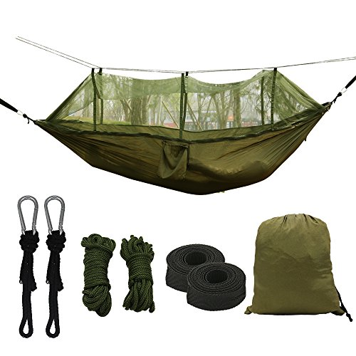 Price comparison product image Double Parachute Camping Hammock with Mosquito Net,High Capacity and Tear resistance with 2 Adjustable Slings,Lightweight Portable 210T Nylon Hammocks for Backpack, Camping, Travel (Army green)