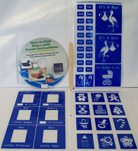 [해외]by 's First Moments 유리 에칭 스텐실 + 무료 CD로 전자 책하는 법/Baby`s First Moments Glass Etching Stencils + Free How to eBook on CD