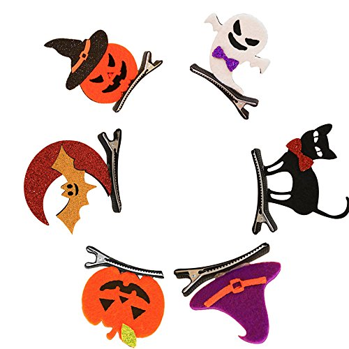 Tourist Costumes Homemade (6PCS Random Color Mixed Kids Baby Halloween Hair Clips Pumpkin/Bats/Ghost Sahpe Hair Clips Cosplay Party)