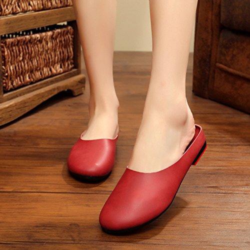 Baotou beige Original Main Nouveau Littéraire Guang Pour Fond Pantoufles Rétro Xing Femmes Été 43 Red Chaussures 39 Plat Femme La À wqYSOOzxT