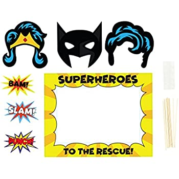 image about Free Printable Superhero Photo Booth Props named : DC Comics Superhero Photobooth Props - Features