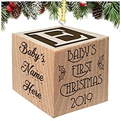 Celebrate babys first christmas ornament ( my first or any other year) with family and friends with our unique personalized baby Christmas Ornament. Baby Block Made with sustainable wood, makes the perfect baby gift. This fully customizable wooden bl...
