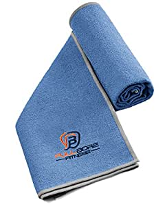 EXERCISE SPORTS TOWEL for Hardcore Fitness Enthusiasts - Moisture Wicking, Super Absorbent, Fast Drying Microfiber. Great Workout Towels for Gym, Travel. Will Keep You Dry All Day. (Cobalt Blue/Gray)