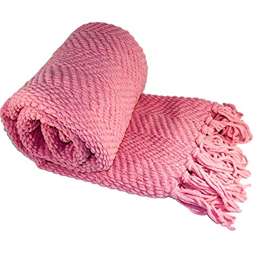 Home Soft Things Boon Knitted Tweed Throw Couch Cover Blanket, 50 x 60, Strawberry Ice