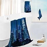 personalized bath towel set Kuala Lumpur Skyline at Night KLCC Twin Towers Super Soft,Machine Washable 19.7''x19.7''-13.8''x27.6''-31.5''x63''