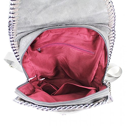 Craze London - Bolso mochila  de piel sintética para mujer gris oscuro