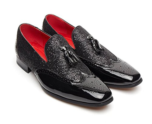 Fancy Brogue da Black in Rossellini Linea Dress Shimmer pelle uomo Patent scarpe party mocassini Shiny nappa 7xnUx4wq