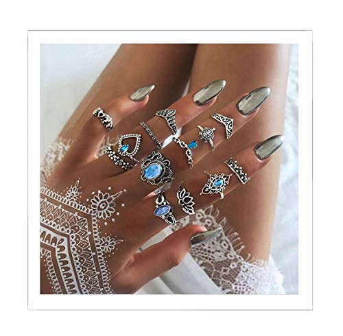 Eoumy Statement Vintage Knuckle Rings Set Multiple Flower Blue Cystal Elephant Crown Heart Stacking Rings for Women