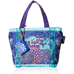 Laurel Burch Bag, 11 by 3 by 8-Inch, Indigo Cats