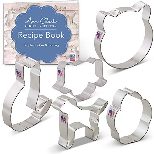 Pets Set Cookie Cutter Set with Recipe Booklet - 5 piece - Cat Face, Dog Face, Paw Print, Cat and Dog - Ann Clark - USA Made Steel ()