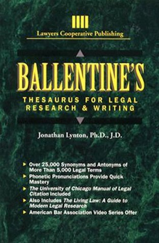 Ballentine's Thesaurus for Legal Research and Writing (Delmar (Mystic Thesaurus)