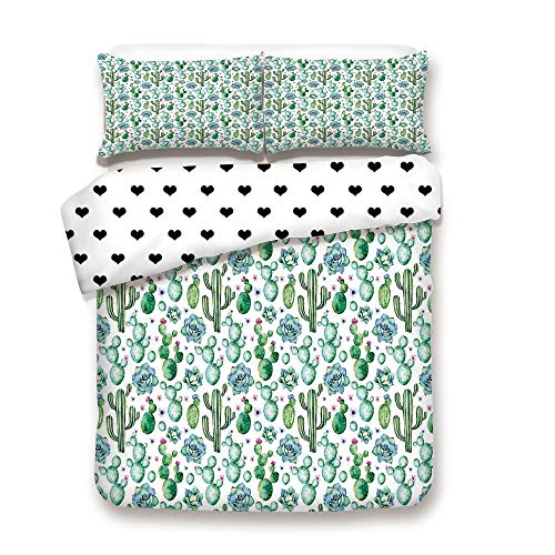 (Duplex Print Duvet Cover Set FULL Size/Hand Painted Exotic Plant Collection Saguaro Prickly Pear Succulents Spines Decorative/Decorative 3 Piece Bedding Set with 2 Pillow Sham,Multic,Best Gift For You)