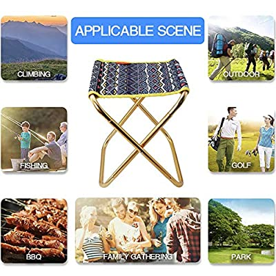 Folding Camping Stool Chair,Portable Folding Stool Camp Chair Outdoor Lightweight Camp Stool Mini Samll Chair with Carry Bag for Camping Fishing BBQ Garden Travel Hiking Picnic Beach (Blue): Kitchen & Dining