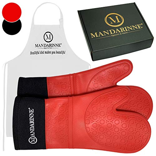 Mandarinne Silicone Oven Mitts and Apron Set - Heat Resistant Grill Mitts - Extra-Long Professional Heat-Resistant Mitts - Quilted Cotton Lining - High Durability - Red Oven Gloves + White Apron (Silicone Oven Mitt Set)