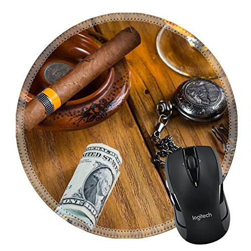 - MSD Mousepad Round Mouse Pad/Mat 35318692 Relaxing cuban cigar after hard day with glass of Rum