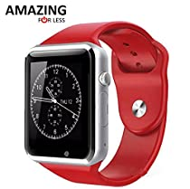 Amazingforless Bluetooth Touch Screen Smart Wrist Watch Phone with Camera - Red