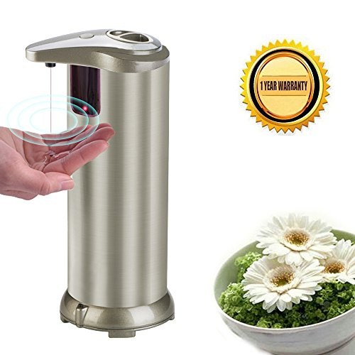 Automatic Detergent (Automatic Soap Dispenser Touchless, Ponydash Auto Dish Liquid Sensor Hand Free Soap Dispenser Stainless Steel Brushed Nickel Fingerprint Resistant Waterproof Base for Kitchen Bathroom -Light Champagne)