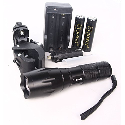 ETpower 800LM XM-L T6 Led Waterproof Bike Bicycle Lights Zoomable Flashlight Lamp Cycling Front Head Light with Two 18650 Battery, AC charger, New Type Flashlight Mount -  ET-BK100-B