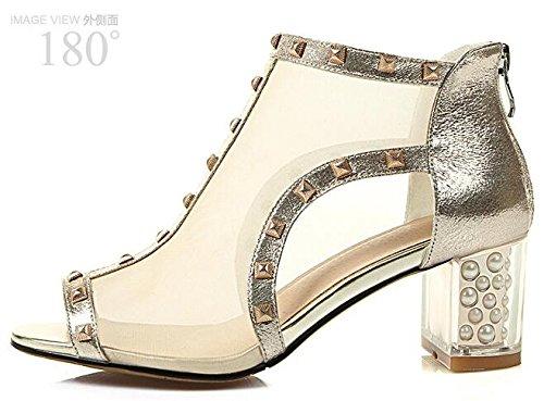 Block Gold Sandal Leather Laruise heeled Women's xwU7R7