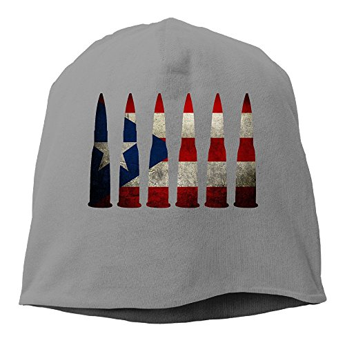 - PENN-TNT Men And Women Puerto Rico Flag Retro Bullet Daily Beanie Hat Fashion Skull Cap Stretchy Hip Hop Cap