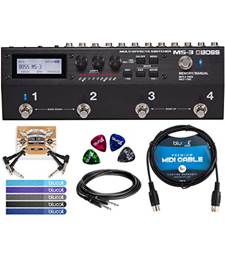 - BOSS MS-3 Multi Effects Switcher Bundle with Hosa CPP-103 Unbalanced Audio Cable, Blucoil 5-Ft MIDI Cable, 2 Pedal Patch Cables, 5-Pack of Reusable Cable Ties, and 4 Guitar Picks